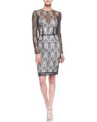 L'Agence Long-sleeve Lace Dress Wslip - Lyst