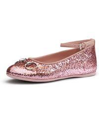 Gucci Glittered Ballet Flat With Horsebit - Lyst