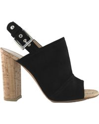 Gianvito Rossi   Suede Peep-toe Slingback Sandals   Lyst