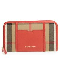Burberry 'Ziggy - Large' Check Print Zip Wallet - Lyst