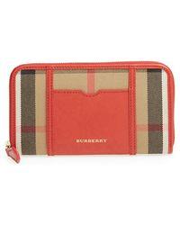 Burberry 'Ziggy - Large' Check Print Zip Wallet - Lyst