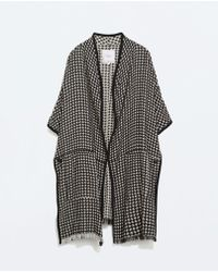 Zara Black Knitted Poncho - Lyst