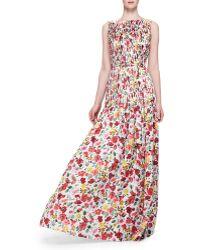 Oscar de la Renta Floral-print Silk Gown - Lyst