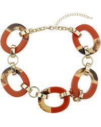 Topshop Orange Chunky Link Collar - Lyst