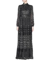 Valentino Batik Bead Embroidery Mesh Lace Gown black - Lyst
