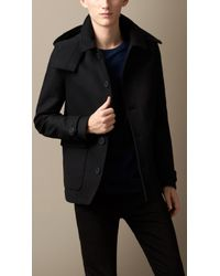 Burberry Wool Cashmere Melton Hooded Coat - Lyst