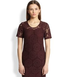Burberry London Lace Short-Sleeve Top - Lyst