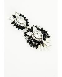 Missguided Crystal Cluster Drop Earrings Monochrome - Lyst
