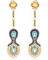 Abellan New York - One Of A Kind Aquamarine, Mandarin Garnets And Diamond Earrings - Lyst