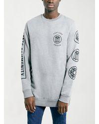 Topman Grey Portland Longer Length Sweatshirt - Lyst