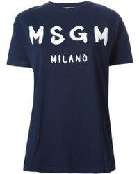 MSGM Oversized Logo Print T-Shirt - Lyst