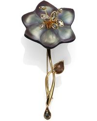 Alexis Bittar Imperial Lucite, Black Moonstone, Pyrite & Crystal Lace Charm Flower Pin - Gray