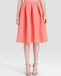 Aqua Pleated Neoprene Midi Skirt - Pink