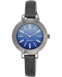 Nine West Ombre Glitter Dial Grey Leather Strap Watch - Gray