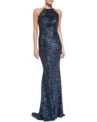 Badgley Mischka Collection Halter Sequined Evening Gown - Lyst