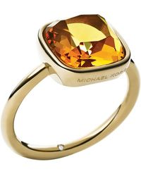 Michael Kors Gold-Tone And Citrine Stone Ring gray - Lyst