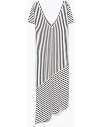Zara Striped Dress gray - Lyst