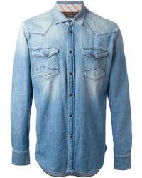Jacob Cohen Blue Denim Shirt - Lyst