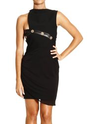 Versace Shoulder Dress with Buttons and Leather Details - Lyst