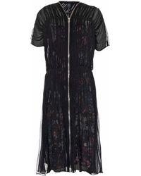 McQ by Alexander McQueen Shirred Chiffon Zip Dress - Lyst
