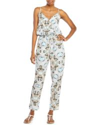 Pink Rose - Printed Surplice Jumpsuit - Lyst