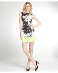 Tahari Black, White And Lime Green Floral Printed Woven 'Margarita Holly' Sleeveless Dress - Lyst
