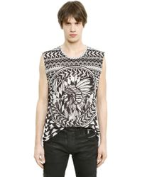 Balmain Sleeveless Printed Cotton T-Shirt - Lyst