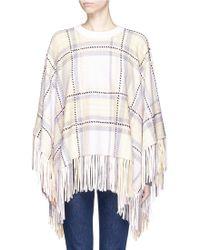 Chloé | Plaid Fringe Wool-cashmere Poncho | Lyst