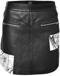 McQ by Alexander McQueen Leather Miniskirt with Manga Print - Lyst