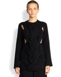 Comme Des Garçons Braidfront Wool Sweater - Lyst