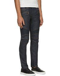 Balmain Blue Raw Denim Contrast Stitch Biker Jeans - Lyst