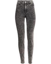 H&M Black Superstretch Trousers - Lyst