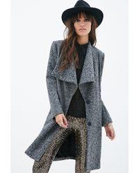 Forever 21 Longline Tweed Coat - Lyst