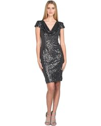 Badgley Mischka | Sequin Cowl-front Cocktail Dress | Lyst