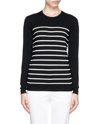 Theory 'Weson' Stripe Rib Front Sweater black - Lyst