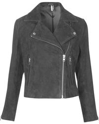 Topshop Suede Leather Biker Jacket  Grey - Lyst