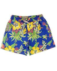 Ralph Lauren Blue Label Blue Swimsuit With Floral Pattern - Lyst