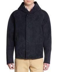 Giorgio Armani Hooded Suede Jacket blue - Lyst