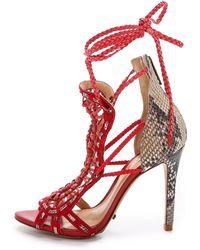 Schutz Dubiane Ankle Wrap Sandals - Neutral/Scarlet - Lyst