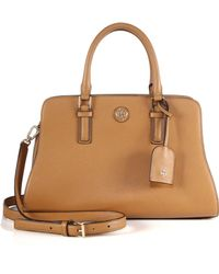 Tory Burch Robinson Curved Saffiano Leather Satchel - Lyst