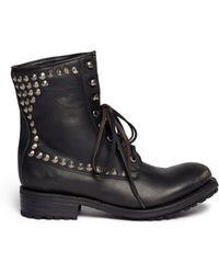 Ash Ralph Stud Leather Biker Boots - Lyst