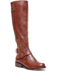 Steve Madden Synicle Leather Tall Zip Boots - Lyst