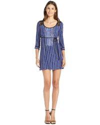 Nanette Lepore Royal Blue Printed Silk 34 Sleeve Lace Trimmed Boardwalk Dress - Lyst