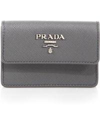 Prada Saffiano Lux Flap Card Case - Lyst