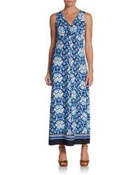 Ellen Tracy Twist-front Maxi Dress - Blue