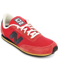 New Balance 410 Red And Navy Suede And Mesh Sneakers - Lyst