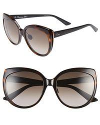 Dior Women'S 'Ific' 57Mm Oversized Sunglasses - Havana/ Gold/ Black - Lyst