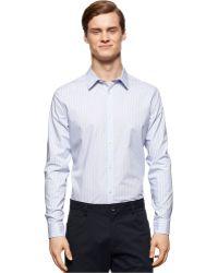 Calvin Klein Cool Tech Grid-Stripe Shirt blue - Lyst
