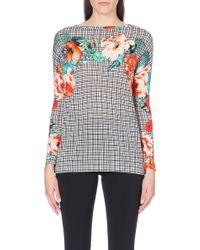 Etro Floral Print Longsleeve Wool Sweater - Lyst