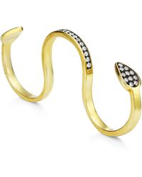 Genevieve Jones Sahar Cosmic Serpent Coil Triple Ring With Pave Stones - Metallic
